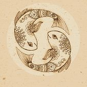 image of pisces  - Hand drawn fish ornament with elements in the ethnic style - JPG