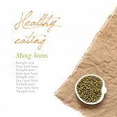 Raw Organic Mung Beans In A Bowl On A White Background