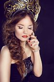 Makeup. Manicured Nails. Russian Girl Model In Exclusive Design Clothes On Manners Old-slavic. Close