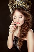 Beauty Girl With Makeup. Fashion Russian Model In Exclusive Design Clothes On Manners Old-slavic. Cl