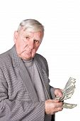 Elderly Man Considers Money