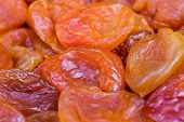 Red And Orange Dried Apricots In Close-up