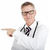 Doctor Pointing To The Left While Looking Ahead