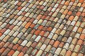 Background Of Weathered Roof Shingles In The Old Town