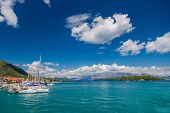 Harbor of Nidri on Lefkas island Greece