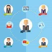 Global Business Organization Flat Concept Illustration