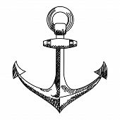 Anchor icon. Nautical vector isolated white, black