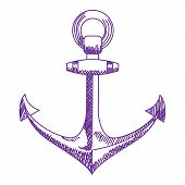 Anchor icon. Nautical vector isolated white, purple
