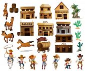 stock photo of cowboys  - Illustration of cowboys and buildings - JPG