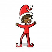 cartoon excited christmas elf