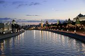 dramatic sunset over river in Moscow