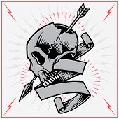 Skull Arrow and Ribbon