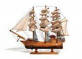 picture of historical ship  - Model of a historic ship over white - JPG