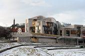 Scottish Parliament Building, Holyrood, Edinburgh, Scotland, Uk, In The Snow At Dusk