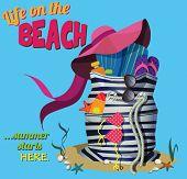 Beach Bag - Striped summer bag filled with beach must-haves - hat, flip-flops, bikini, sun screen bottles, sunglasses and swim fins, cartoon style clip art