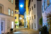 Night street of town of Fussen  Germany