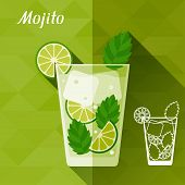 picture of mojito  - Illustration with glass of mojito in flat design style - JPG