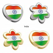 india flag in heart and flower shape