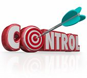 Control word with bulls-eye in letter O targeting a position of power, influence, leadership and res