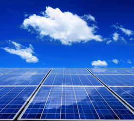 picture of solar battery  - Solar energy panel with blue sky and clouds - JPG