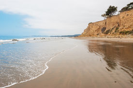 stock photo of loon  - The beach at Loon Point in the seaside village of Summerland California - JPG