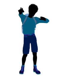 pic of male female  - African american teen hiker illustration silhouette on a white background - JPG