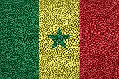 picture of stingray  - Senegal Flag painted on stingray skin texture - JPG