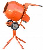 picture of concrete pouring  - small orange concrete mixer machine and wheelbarrow isolate on white background - JPG