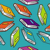 books cartoon illustration seamless pattern
