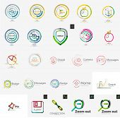 Set of various universal company logos - letters, business symbols, loops, concepts, arrows, stamps, infinity