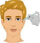Illustration of a Man With a Syringe Poised Against His Face