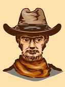 Vintage Illustration of a Man in Typical Cowboy Gear