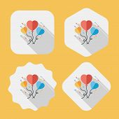 Wedding Ballons Flat Icon With Long Shadow,eps10