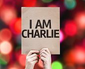 I am Charlie card with colorful background