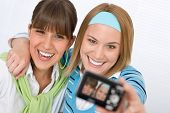 Two Young Happy Woman Taking Picture