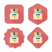 Shopping Fragile Box Flat Icon With Long Shadow,eps10