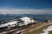 Railway At The Top Of Mount Rigi Near Lake Lucerne