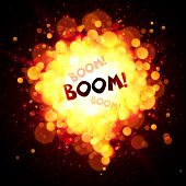 Vector fireball speech bubble with Boom sign