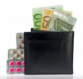 Wallet With Money And Several Varieties Pills