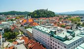 Ljubljana urban landscape, view from Neboticnik, Slovenia