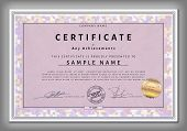 Vintage Certificate Template With Spotted Frame And Calligraphic Elements On Purple Dotted Paper