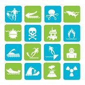 Silhouette Warning Signs for dangers in sea, ocean, beach and rivers