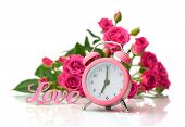 Valentine's Day.pink Roses And Alarm Clock