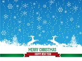 Merry Christmas Greeting Card with calligraphy elements.
