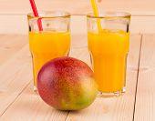 Mango juice with mango in the closeup.