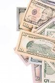 stock photo of two dollar bill  - Dollar Bills close up - JPG