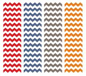 Tile chevron pattern set with orange, grey, blue and red zig zag on white background