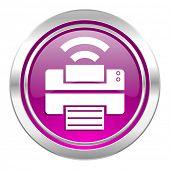 printer violet icon wireless print sign