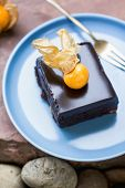 picture of chocolate fudge  - Chocolate fudge cake with gooseberry on top - JPG