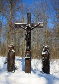 stock photo of crucifixion  - Crucifixion opposite the road leading to the monastery in the village Tiganesti the Republic of Moldova - JPG
